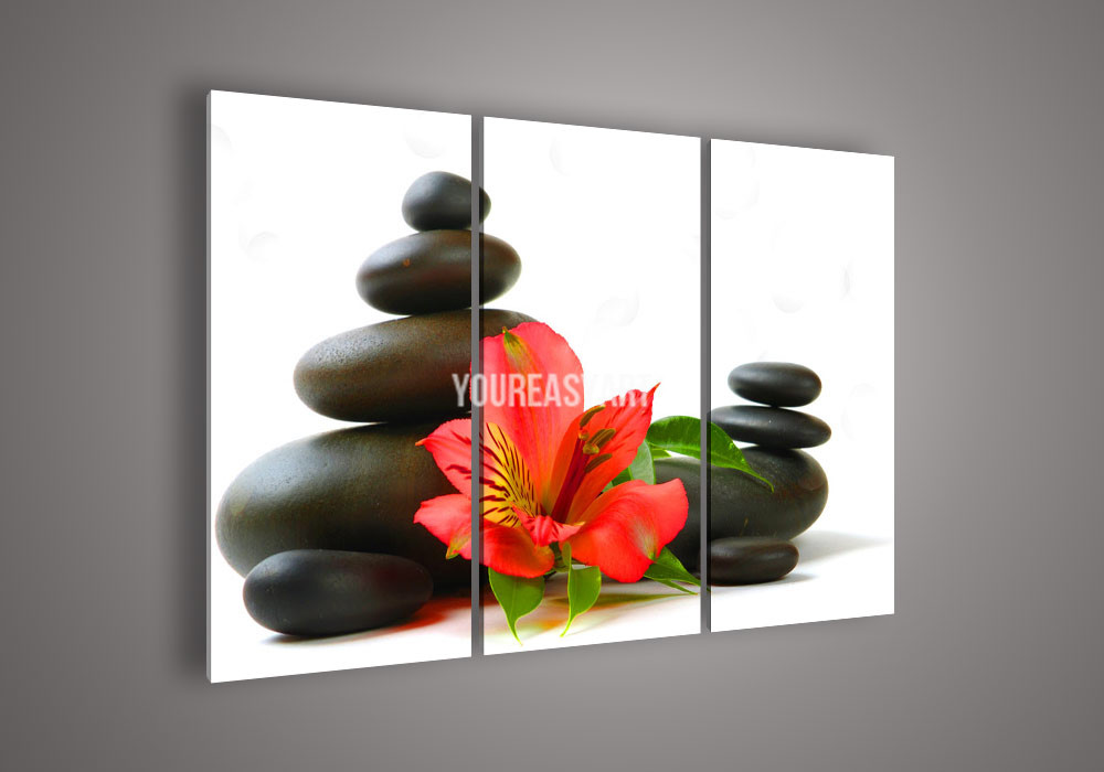 3 Piece Wall Art Modern Abstract Acrylic Red Flowers And Stones Flower Oil Painting On Canvas(China (Mainland))