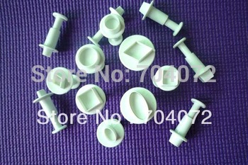 Free shipping  4 different sets/ lot New Cake Decorating Plunger Cutters Tool Mold Sugarcraft Round/Square/Oval