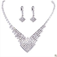 Wedding Gift Crystal Bridal Jewelry necklace earrings free shipping 08 1
