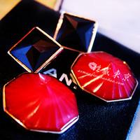 free shipping Quality murua peach exaggerated earrings 1001