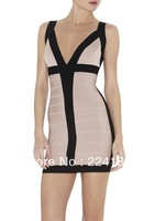 2013 New Arriveal Women's Bandage Dress spaghetti strap Celebrity V-Neck  Party Evening Mini Dresses