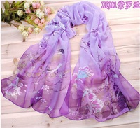 free shipping fashion printe chiffon silk long birds scarf /scarves 160*50cm 10pcs/lot