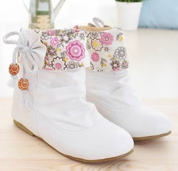 Young girl shoes elevator black bow pink beige 40 - 43 plus size female child girl single ankle boots(China (Mainland))