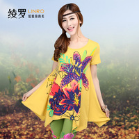 2013 summer women's flower national trend all-match loose plus size one-piece dress short-sleeve Free shipping