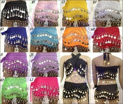 12color for chose HANDMADE MetalCOIN BELLY DANCE HIP SCARF WRAP SKIRT Waistband(China (Mainland))