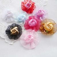 Diy handmade flower decoration ribbon flower ribbon flower handmade flower diameter 6.5cm handmade flower