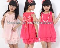 Retail Free shipping 2013 Summer new kids dresses,children dresses,girl's bowknot chiffon dresses