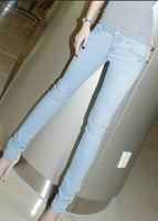 2013 Spring and summer slim women's fashion bule  water wash elastic jeans 100% brand new skinny pants pencil pants thin