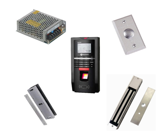 Free ship by DHL,Finger access control kit, finger access control+power+280kg magnetic lock+U-shape bracket+exit button,sn:F20_8(China (Mainland))