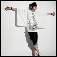 Free Shipping  2014 short sleeve polo t shirt men t pyramid t 100% cotton isconvoluting t shirt print casual