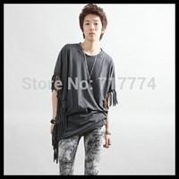 Free Shipping  2014 new cuff sex  o-neck short sleeve men fashion tshirts slim fit color black size M L XL