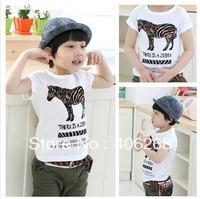 Cartoon Zebra printing  2013 new best quality summer children t-shirt  casual  boy's tees  free shipping