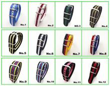 Wholesale 10pcs lot High quality 20MM Nylon Watch band NATO waterproof watch strap colorful fashion wach