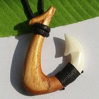 Hawaii Tribal Surfer Style Handmade Carved Ox Bone Koa Wood FISHHOOK Pendant Adjustable Necklace