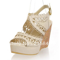 2013 new summer women wedge sandals fashion hollow pattern upper open toe platform high heels big and small size 32-48 USA 17