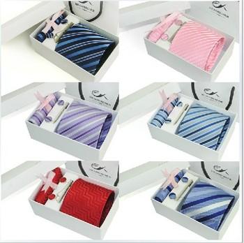 Hot sales 100% Silk ties Men's Ties business tie Necktie Plaid Stripe Mans Tie Neckties 6pcs/set gift box 24 models