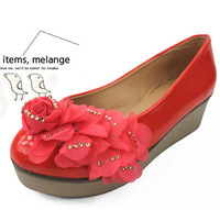 2012 single shoes sweet gentlewomen shoes rose wedges platform shoes