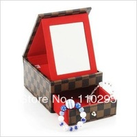 New European style rabbit wool 2 layers jewelry box cosmetics storage boxes plaid/mirror/metal case free shipping wholesale