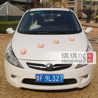 Free shiping Rose like a heart shape with a suction cup color flower for wedding decoration for  wedding car