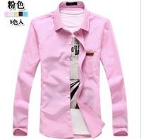 Free shipping new fashion 2014 men' s long shirts comfortable cotton shirt hot saleMulti-color business and long-sleeved shirt