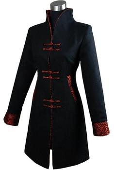 Черный Модный Thick Cashmere Chinese tradition Женщины's Длинный Jacket Coat ...