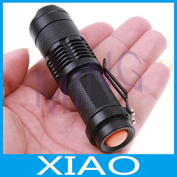 2pcs/lot Waterproof LED Light 7W 300LM Mini CREE Q5 LED Flashlight Torch Adjustable Focus Zoom flash Light Lamp+free shipping(China (Mainland))