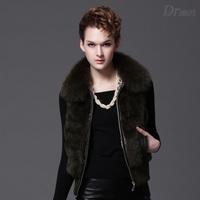 Free Shipping Retail Wholesale OEM Factory Direct Sale Rabbit Fur Gilet  Fox Fur Collar Waistcoat Women Natural Rabbit Fur Vest