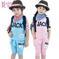 Male female child clothing summer 2013 pure cotton vest shorts sports set j06
