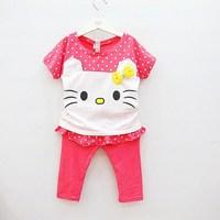 2013 summer female child short-sleeve cat t-shirt culottes capris set