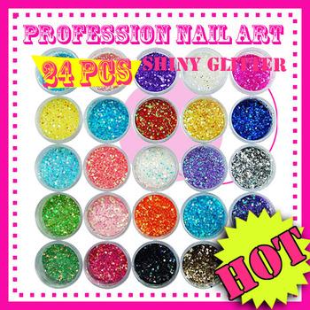 New 24 Color Shiny Glitter Acrylic dust For Nail Art Tips 8g/Bottle UV Gel EL170 free shipping