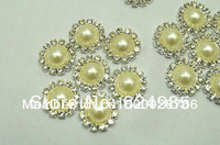 Wholesale Free shipping  20mm Pearl centre bling Button Alloy Metal Buttons Sunshine Flat Back 200pcs/lot