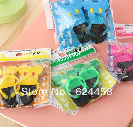 Free shipping rubber slippers shaped eraser set/foot eraser set 20sets/lot(China (Mainland))