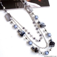 3 autumn and winter long design multi-layer silver grey shell vintage long necklace design necklace female accessories