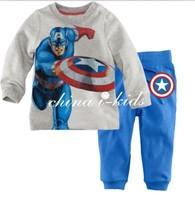 WHOLE sale Free Shipping latest style 6 Sets/Lot  cartoon Superman Baby Kids Pajamas children  Sleepwear