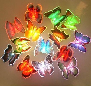 10pcs/lot Colorful LED butterfly night light for wedding room color changing LED night light for children room free shippingD04