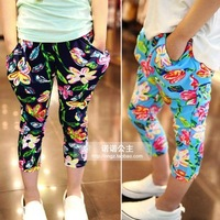 The new girls big flower elastic waist casual trousers harem pants 5pcs/1lot