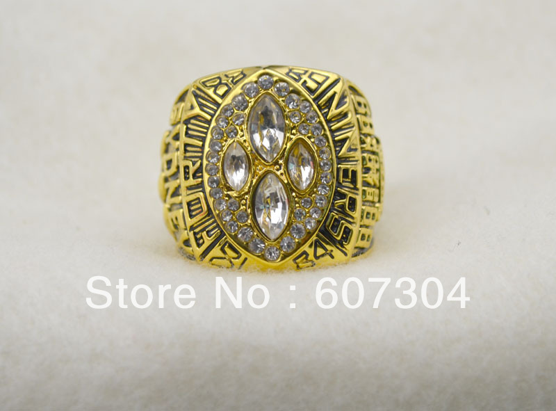 free shipping replica 18k gold plated 1989 San Francisco 49ers championship ring with crystl(China (Mainland))