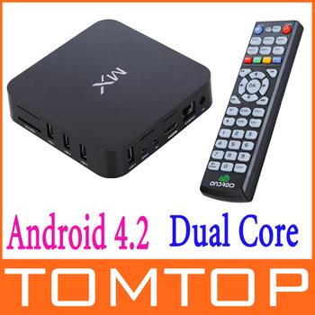 EU Plug Android 4.2 Dual Core Mini PC Smart google TV Box  XBMC 1.6Ghz 1G DDR3 8GB Full HD 1080P tv stick Wifi 2.4G  keyboard