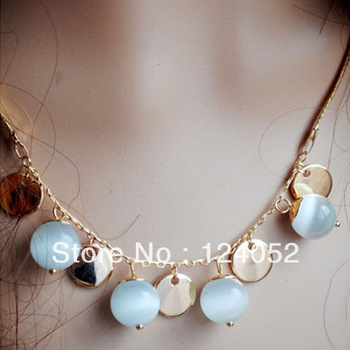 Free Shipping Fashion Classical Simple White Opal Ball Valentine's Necklace Coin Bead Choker For Women LKX0148 DropShipping