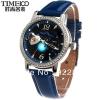 Time100 Korea Crystal Rhinestone Fashion Ladies Watch Cutout Mechanical Fully-automatic Women's 12 Constellations Strap Watch