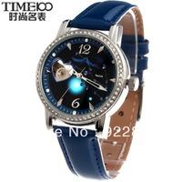 Time100 Korea Crystal Rhinestone Fashion Ladies Watch Cutout Mechanical Fully-automatic Women's 12 Constellations Strap Watch