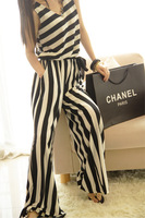 2013 star style Fashion brief vertical stripe high waist wide leg pants   jumpsuit  for woman