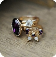 Min Order $10(Mix Order)Free Shipping!Korean Ancient mysterious purple butterfly gem set of three rings