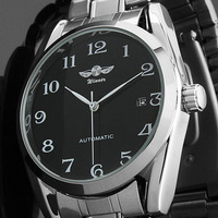 2013 Brand New Mens Black Date Stainless Steel Automatic Date Self-Wing Up Mechanical Watch