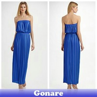 EG069 Gonare Simple Designer Blue Best Quality Sexy Ladies Evening Dress Free Shipping