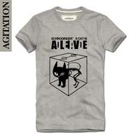 Agitatio2013 men's clothing 100% T-shirt slim cotton short-sleeve t-shirt cat