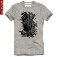 Agitation 100% cotton short-sleeve men's clothing personalized t-shirt lucky rich black carp male