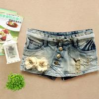 Fashion women's slim denim short paragraph half-length culottes skirt boot cut jeans 121