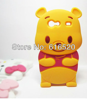 Retail 1pcs/lot 3D Cute Winnie Poon Bear Silicone Case Back Cover for samsung galaxy s advance i9070 Free shipping  via Post