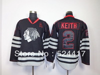 Free Shipping Ice Hockey Jersey,Chicago Blackhawks #2 Duncan Keith black ice,Embroidery logos 100% stitched,mix order